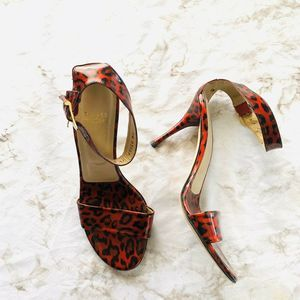 Stuart Weitzman Red Leopard Animal Print Heels